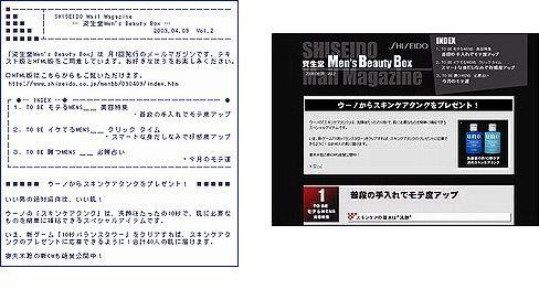 モテる イケてる メンズ  資生堂 Men's Beauty Box テキスト版/HTML版 メールマガジンサンプル